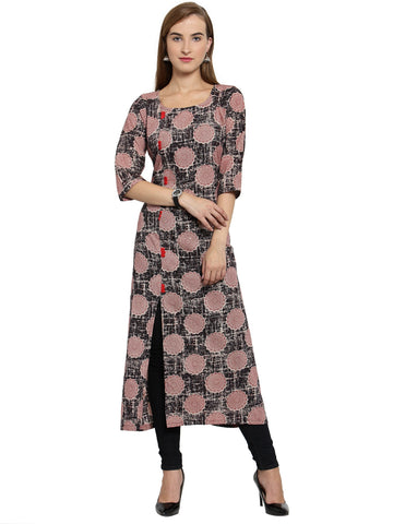 Enchanted Drapes Black Red Women's Cotton Kurti