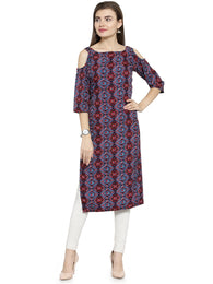 Enchanted Drapes Maroon Multicolor Women's Crepe Kurti