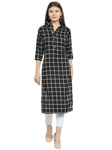 Enchanted Drapes Black Cheque Women's Crepe Kurti
