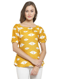 Enchanted Drapes Women's Yellow Printed Rayon Top