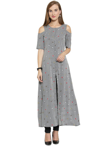 Enchanted Drapes Black Printed Women's Crepe Kurti
