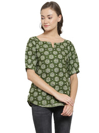 Enchanted Drapes Women's Green Block Printed Cotton Top