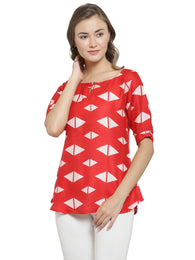 Enchanted Drapes Women's Red Printed Rayon Top