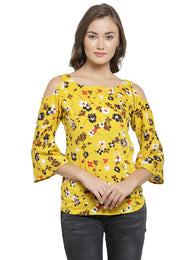 Enchanted Drapes Women's Yellow Floral Crepe Top
