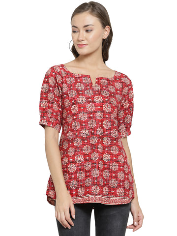 Enchanted Drapes Women's Red Block Printed Cotton Top