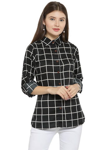 Enchanted Drapes Women's Black Check Crepe Shirt