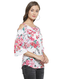 Enchanted Drapes Women's White Floral Crepe Top