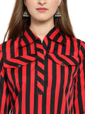 Enchanted Drapes Red Stripes Printed Women's Crepe Kurti