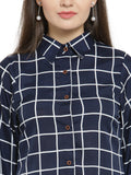 Enchanted Drapes Women's Blue Cheque Crepe Shirt