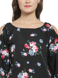 Enchanted Drapes Women's Black Floral Printed Crepe Top