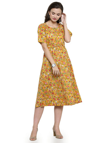 Enchanted Drapes Yellow Floral Printed Women's Cotton Dress