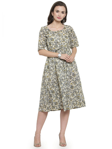 Enchanted Drapes Beige Blue Green Printed Cotton Dress
