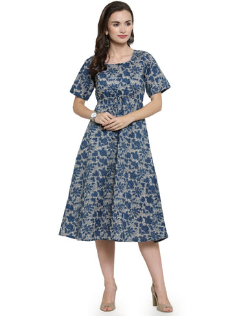 Enchanted Drapes Blue Floral Printed Cotton Dress