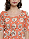 Enchanted Drapes Women's Orange Printed Cotton Dress