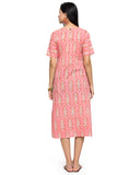 Enchanted Drapes Women's Pink Printed Cotton Dress