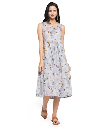 Enchanted Drapes Women's Grey Floral Printed Cotton Dress