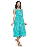 Enchanted Drapes Women's Blue Printed Floral Cotton Dress
