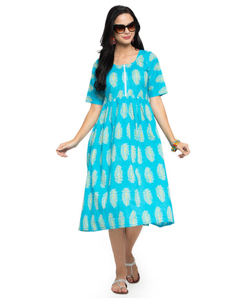 Enchanted Drapes Women's Sky Blue Printed Cotton Dress