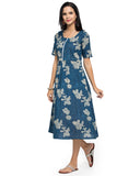 Enchanted Drapes Women's Blue Floral Printed Cotton Dress