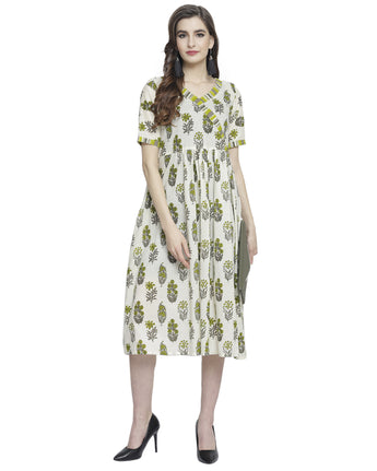 Enchanted Drapes Women's Offwhite Floral Printed Cotton Dress
