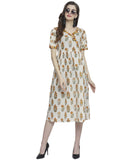 Enchanted Drapes Women's Offwhite Printed Cotton Dress