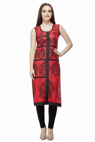 Red Black Budha Cotton Kurti