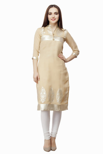 Enchanted Drapes Beige Block Print Kurti