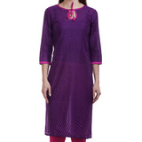 Purple Printed Cotton Kurti