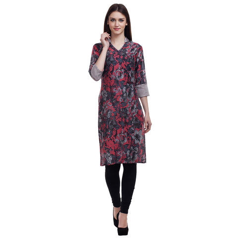 Pink and Grey Floral Print Kurti