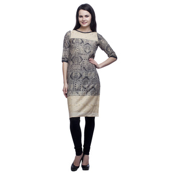 Black Beige Chicken Kurti