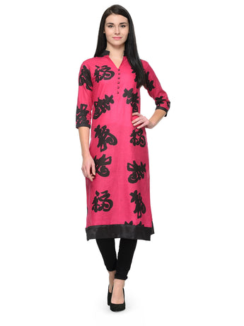 Enchanted Drapes Pink Chinese Collar Kurti