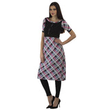 Enchanted Drapes White and Pink Cheque Boat Neck Kurti