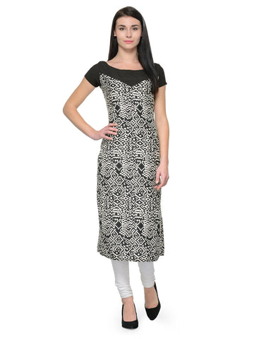 Enchanted Drapes Black Crepe Boat Neck Kurti