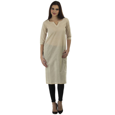 Enchanted Drapes Beige Solid Round Neck Kurti