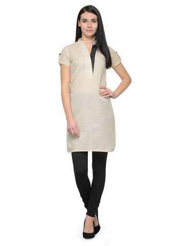 Enchanted Drapes Beige Solid Collar Kurti