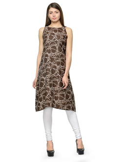 Enchanted Drapes Brown Printed Crepe Kurti