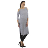 Enchanted Drapes Blue White Stripes Crepe Kurti