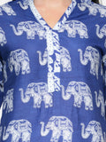 Enchanted Drapes Blue Elephant Cotton Kurti