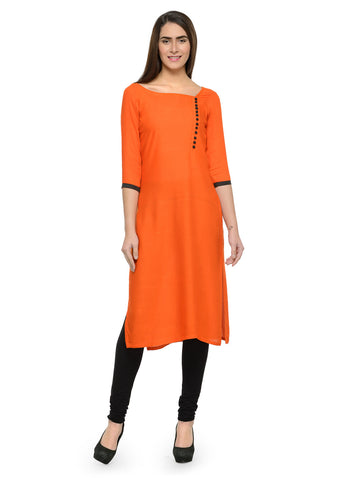 Enchanted Drapes Orange Solid Rayon Kurti