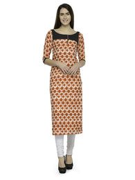 Enchanted Drapes Orange Printed Crepe Kurti