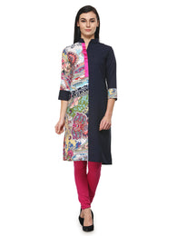 Enchanted Drapes Blue with Half Multicolor Printed Crepe Kurti