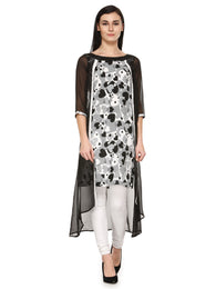Enchanted Drapes Black White Heart Printed Georgette Kurti