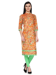 Enchanted Drapes Orange Printed Cotton Kurti