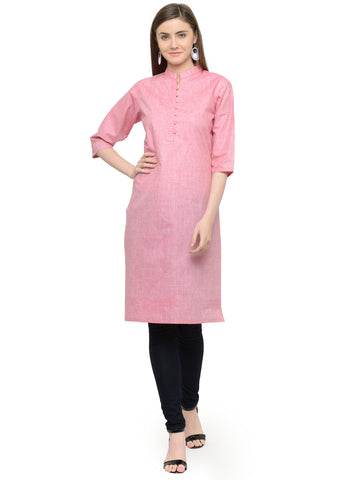 Enchanted Drapes Pink Women's Cotton Kurti