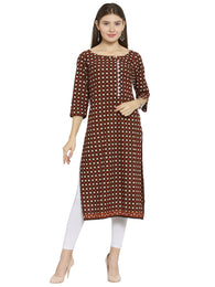 Enchanted Drapes Brown Jaipuri Women's Cotton Kurti