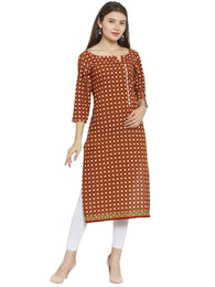 Enchanted Drapes Maroon Jaipuri Women's Cotton Kurti
