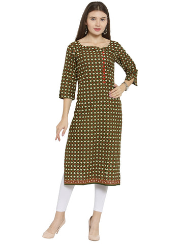 Enchanted Drapes Mehendi Green Women's Cotton Kurti