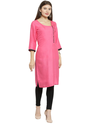 Enchanted Drapes Baby Pink Rayon Women's Kurti