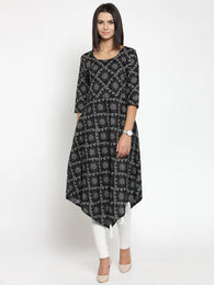 Enchanted Drapes Black Jaipuri Women's Cotton A-Line Kurti