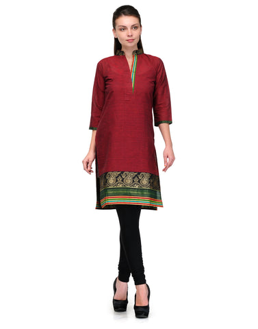 Enchanted Drapes Women's Maroon Border Cotton Kurti